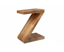 Masívny príručný stolík Sheesham z mangového dreva v tvare písmena Z 45cm