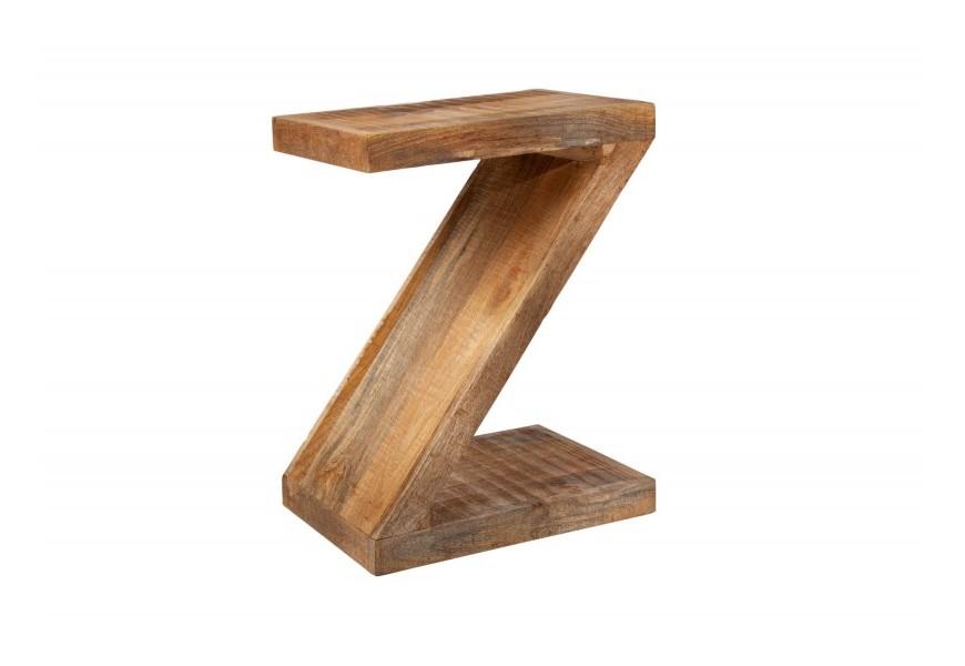 Štýlový masívny príručný stolík Sheesham s poličkou z mangového dreva