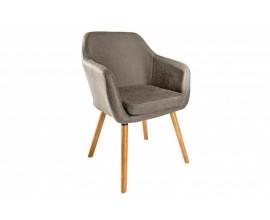 Retro čalúnená jedálenská stolička Dagean v hnedosivom poťahu s nohami z dreva 83cm
