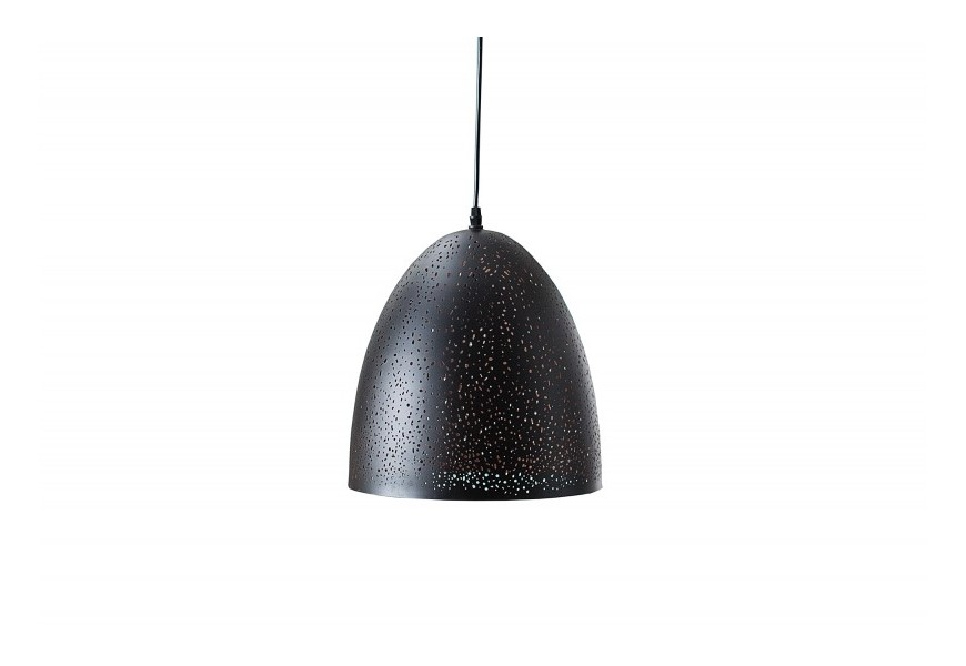 Dizajnová závesná lampa Night Sky II s čierno-medeným dierovaným tienidlom