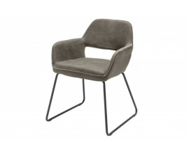 Moderná čalúnená jedálenská stolička Pala v hnedosivom odtieni s koženým povrchom 77cm
