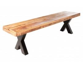 Industriálna dlhá lavička Steele Craft z dreva na hrubých kovových nohách 200cm