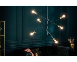 Dizajnové moderné závesné svietidlo Elke 98cm čiernej farby s industriálnym nádychom