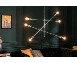 Dizajnové strieborné industriálne závesné svietidlo Elke s atypickými dizajnovými ramenami striebornej farby