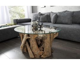 Masívny dizajnový konferenčný stolík Wild so sklenenou povrchovou doskou 60cm