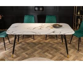 Retro dizajnový jedálenský stôl Forisma s bielou povrchovou doskou s mramorovým vzhľadom 180 cm