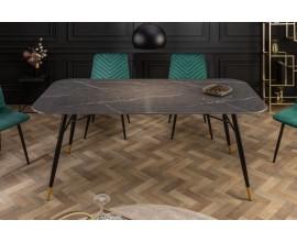 Retro nadčasový jedálenský stôl Forisma s čiernou povrchovou doskou s mramorovým vzhľadom 180 cm