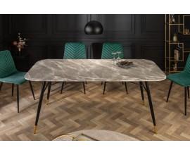 Retro jedinečný jedálenský stôl Forisma so šedou povrchovou doskou s mramorovým vzhľadom 180 cm