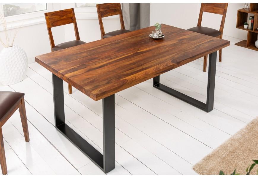 Vkusný a nadčasový hnedý jedálensky stôl Steele Craft s kovovými čiernymi nohami