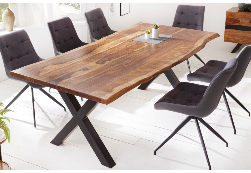Nadčasový a vkusný moderný jedálenský stôl Steele Craft s obdĺždnikovou povrchovou doskou v industriálnom prevedení