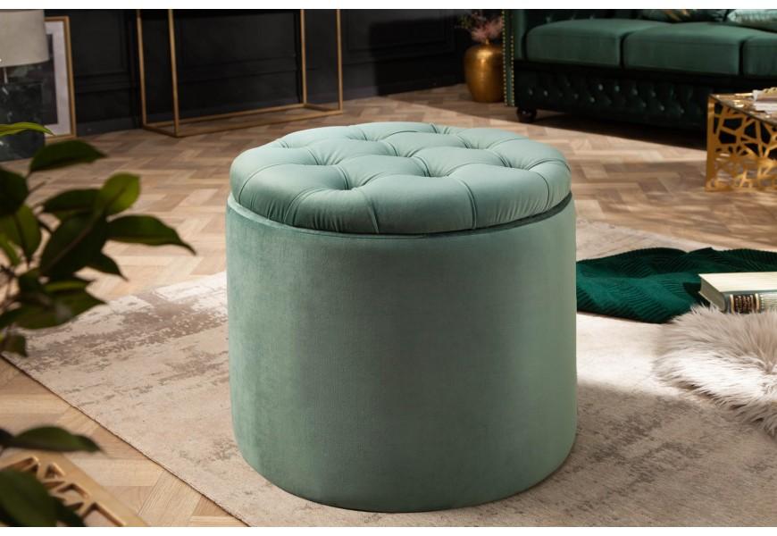 Luxusná okrúhla taburetka Modern Barock v barokovom štýle so zamatovým poťahom zelenej farby