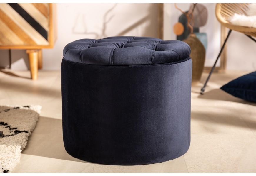 Luxusná zamatová tmavomodrá taburetka Modern Barock s úložným priestorom a sedacou časťou v štýle chesterfield