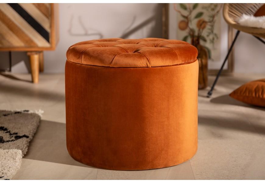 Jedinečná kruhová oranžová taburetka Modern Barock s luxusným zamatovým poťahom a úložným priestorom
