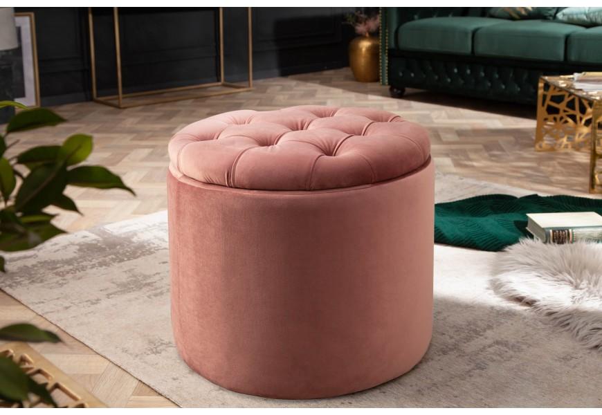Luxusná zámocká zamatová taburetka Modern Barock s odnímacou sedacou časťou v štýle chesterfield ružovej farby