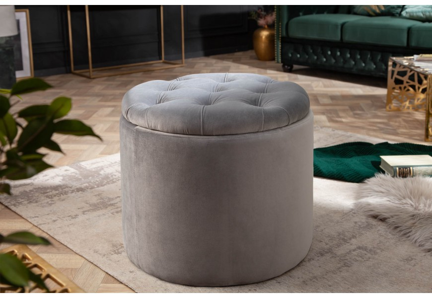 Jedinčná okrúhla taburetka Modern Barock s úložným priestorom a zamatovým poťahom sivej farby