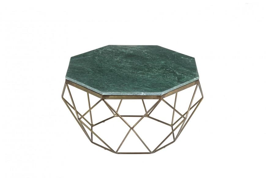 Štýlový Art-deco konferenčný stolík Adamantino s hranatou zelenou doskou z mramoru a podnožou z bronzového kovu
