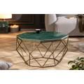 Art-deco mramorový konferenčný stolík Adamantino s geometrickou podstavou z kovu 69cm