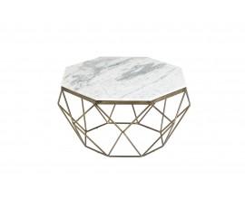 Art-deco štýlový konferenčný stolík Adamantino s bielou mramorovou doskou a bronzovou konštrukciou v tvare diamantu 69cm
