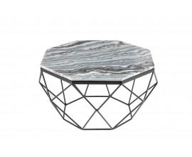 Art-deco štýlový konferenčný stolík Adamantino so sivou mramorovou doskou a čiernou konštrukciou 69cm