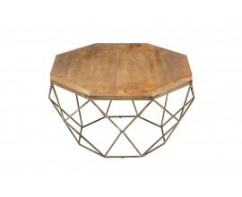 Art-deco jedinečný konferenčný stolík Adamantino s drevenou doskou a kovovou konštrukciou v tvare diamantu 69cm