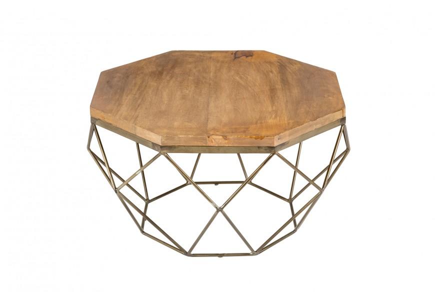 Moderný jedinečný konferenčný stolík Adamantino s masívnou hranatou doskou v prírodnom odtieni s antickou bronzovou geometrickou