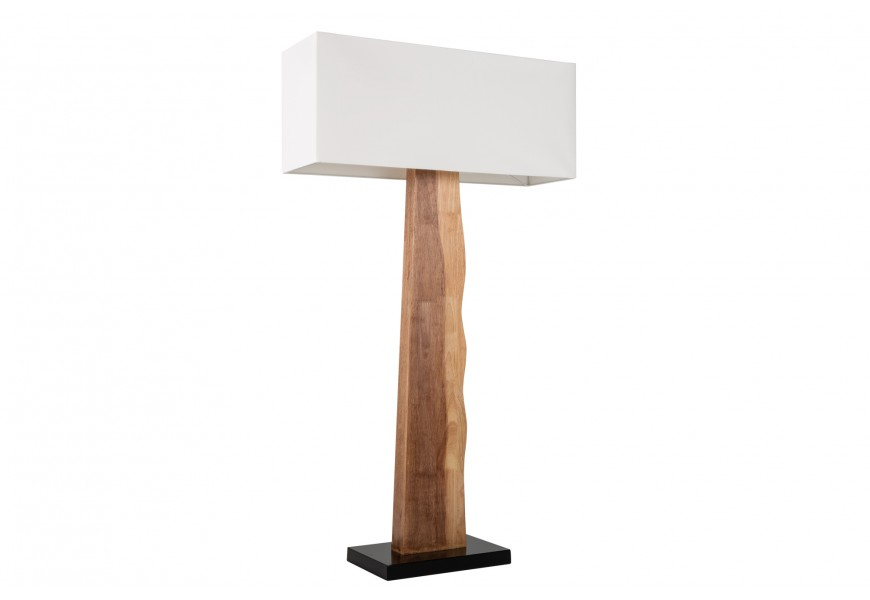 Štýlová stojaca lampa Alaska s textilným hranatým tienidlom s podstavou z masívneho dreva