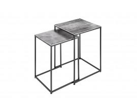 Moderný sivý set príručných stolíkov Elements so štvorcovou doskou a čiernou konštrukciou z kovu 40cm