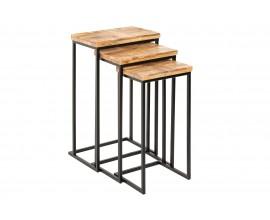 Moderná trojica masívnych mangových príručných stolíkov Leeds s hranatou čiernou nohou 40cm