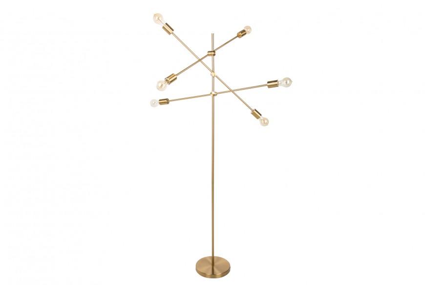 Štýlová moderná stojaca lampa Elke zo zlatého kovu so žiarovkami na troch otočných ramenách