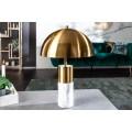 Art-deco luxusná stolná lampa Jaspeado s mramorovou podstavou a zlatým tienidlom 52cm