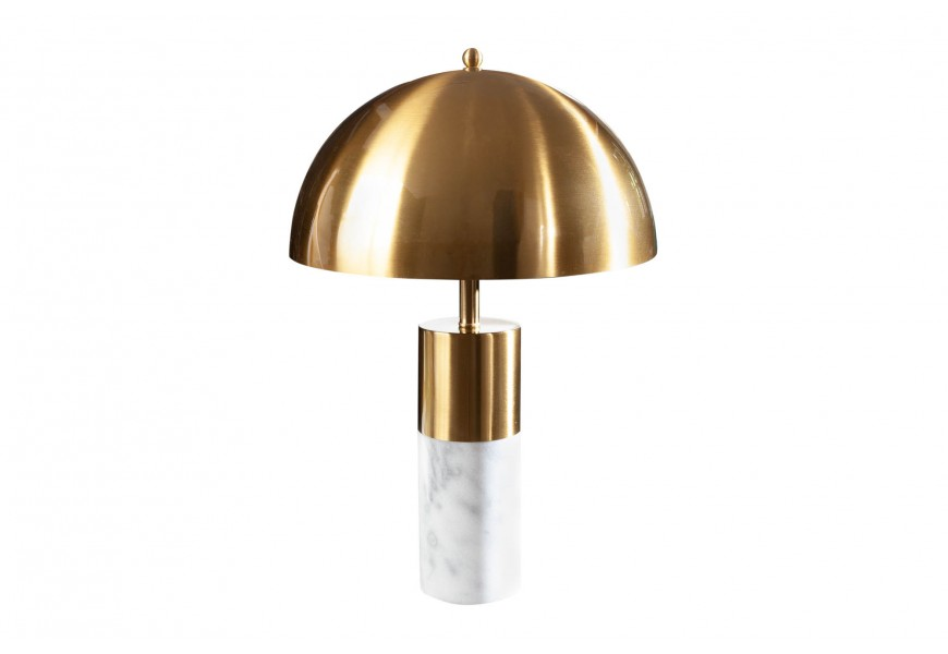 Štýlová mramorová stolná lampa Jaspeado so zlatým tienidlom v tvare pologule