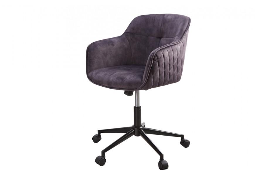 Štýlová moderná otočná kancelárska stolička Berittal so sivým čalúnením a čiernymi kolieskami