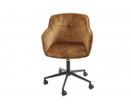 Moderná čalúnená kancelaŕska stolička Berittal v źltom poťahu na kolieskach 81-91cm