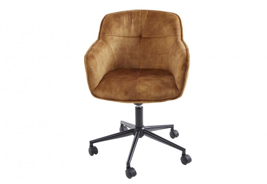 Horčicová čalúnená nastaviteľná kancelárska stolička Berittal na kolieskach