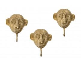 Sada troch vešiakov v tvare opice Mejenga v zlatom odtieni 25cm