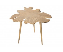 Art-deco zlatý príručný stolík Hojilla v tvare listu 42cm