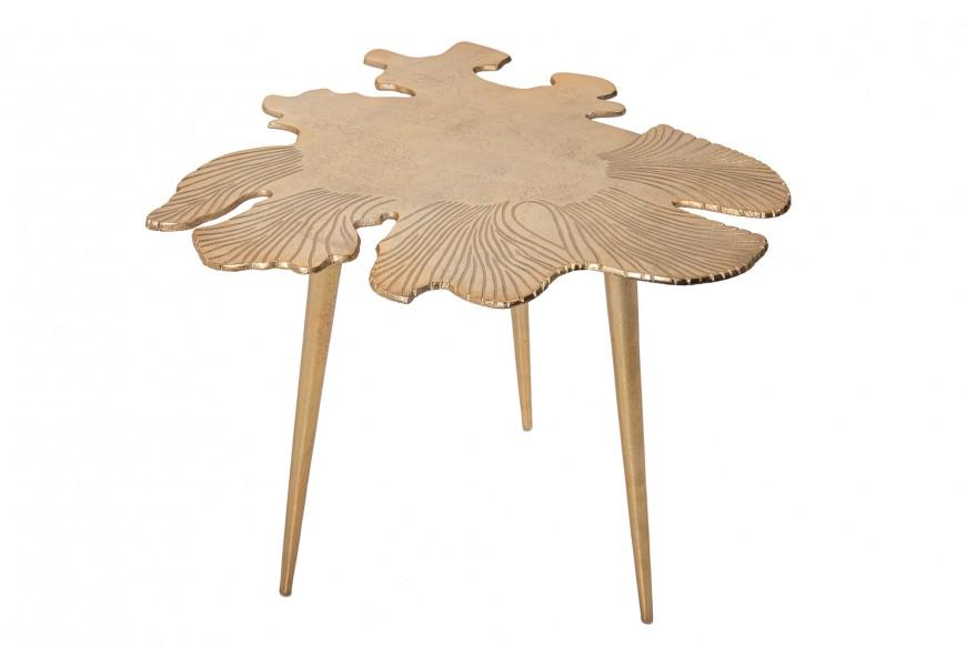 Jedinečný Art-deco príručný stolík Hojilla v zlatom odtieni v tvare listov