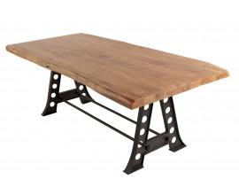 Industriálny jedálenský stôl Mammut z dreva akácie s nohami z kovu 220cm