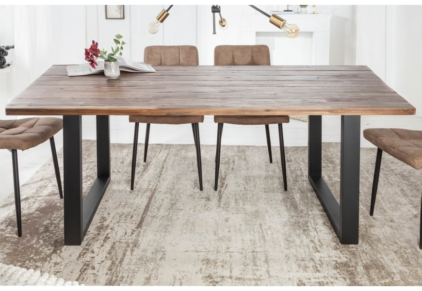 Jedinečný masívny jedálenský stôl Steele Craft z dreva akácie a kovovými čiernymi nohami