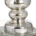Antický sklenený strieborný stojan na sviečku 24cm