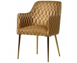 Art-deco luxusná zlatá stolička Glamoure I s geometrickým zrkadlovým motívom 85cm