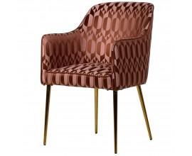 Art-deco čalúnená ružovo-medená jedálenská stolička Glamoure I s kovovými nohami 85cm