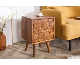 Nadčasový nočný stolík Mozaika z masívneho dreva palisander