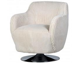 Retro luxusné čalúnené kreslo Swirly v bledom štruktúrovanom zamatovom poťahu 79cm