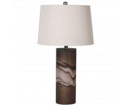 Art-deco stolná lampa Dalen s hnedou podstavou zo skla 69cm