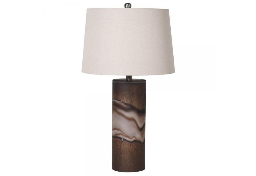 Jedinečná sklená hnedá stolná lampa Dalen s efektom kameňa a bledým tienidlom