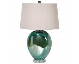Štýlová zelená stolná lampa Dariele s sklenenou podstavou a textilným tienidlom 65cm