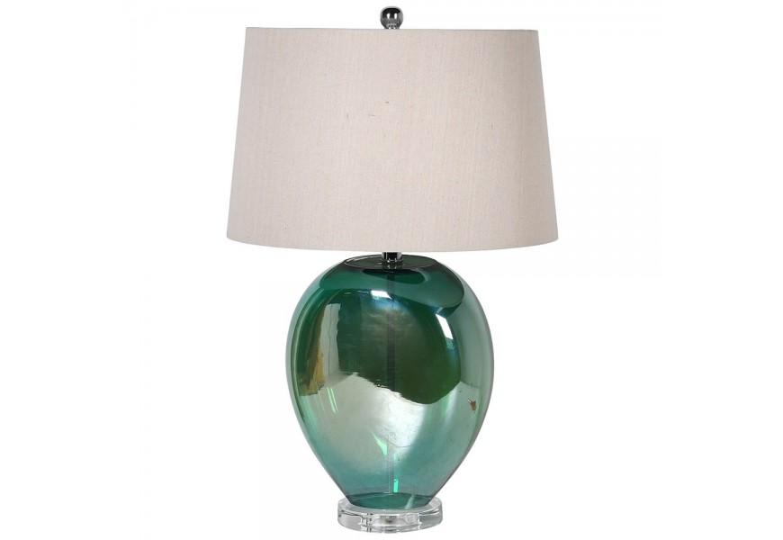 Luxusná krémová nočná lampa Dariele so sklenou zelenou podstavou v tvare vázy