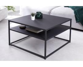 Industriálny minimalistický čierny konferenčný stolík Erippe s policou 70cm