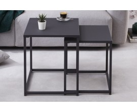 Industriálny dizajnový set čiernych konferenčných stolíkov Erippe z kovu 40cm